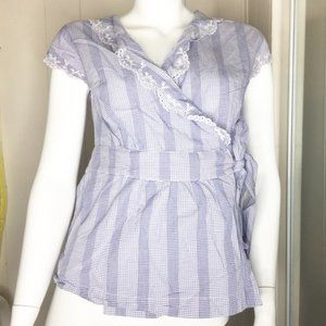 Tommy Hilfiger Faux Wrap Embroidery Top Size Small